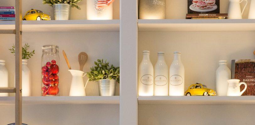 items on shelves to maximise storage