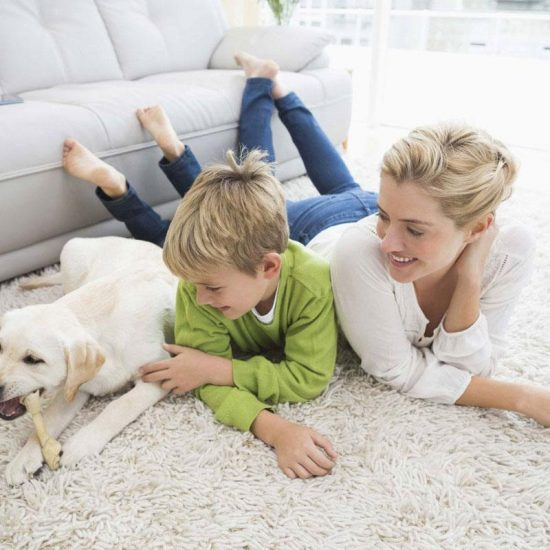 happy mother and son lying with dog on clean carpet