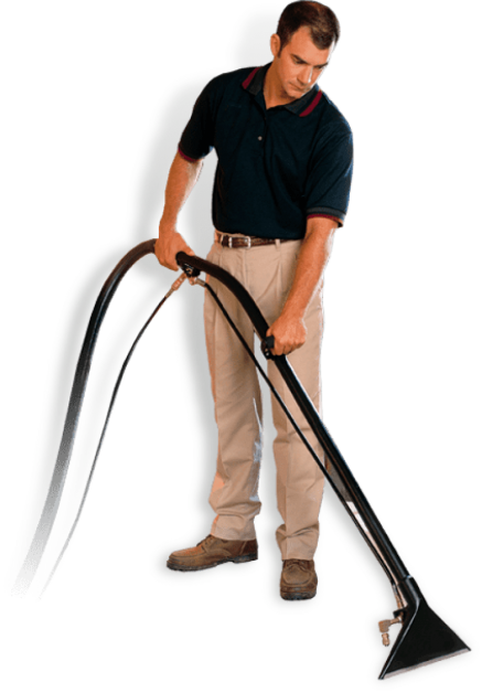 Man deep cleaning carpet using professional equipment